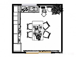 吧台式厨房效果图 14�O整体空间设计大方且清新_维意定制家具商城