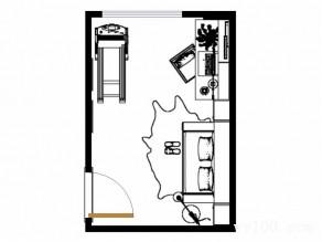 一字型书房效果图 10�O设计简洁美观_维意定制家具商城
