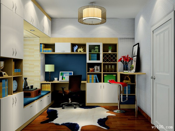 飘窗榻榻米书房设计 小空间的合理分配_维意定制家具商城