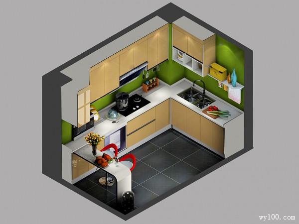 现代风格厨房 U型吊顶增添空间美_维意定制家具商城