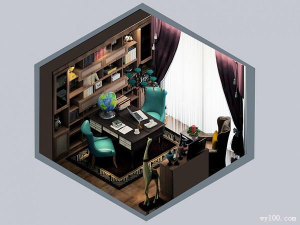 中式双人书房 11�O大气祥和_维意定制家具商城