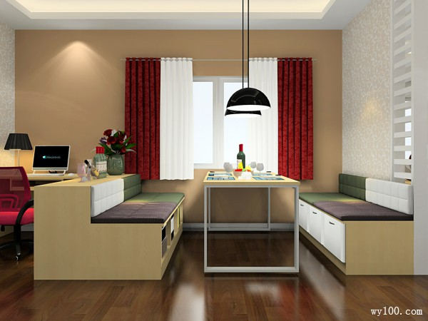浪漫客餐厅效果图 35平都市个性时尚_维意定制家具商城