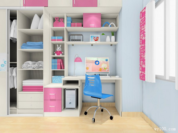 书桌组合儿童房 8�O的可爱型拼接_维意定制家具商城