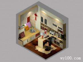 现代书房效果图 7平奢华风格_维意定制家具商城