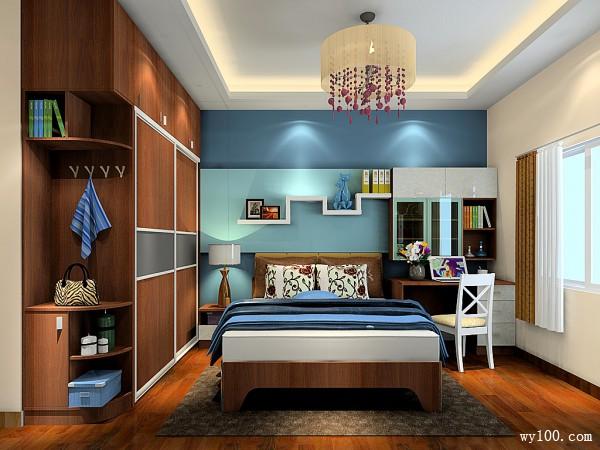 木质卧室效果图 13�O胡桃感实现绅士品格_维意定制家具商城