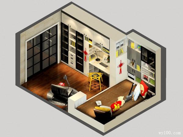 榻榻米书房效果图 16平凹位分区时尚温馨_维意定制家具商城