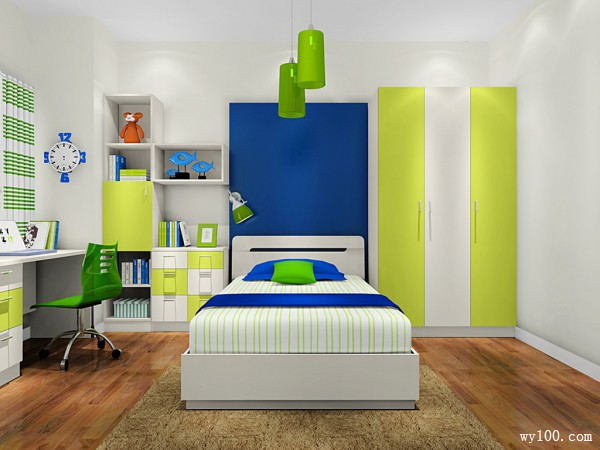 书柜儿童房效果图 10平绿意组合_维意定制家具商城