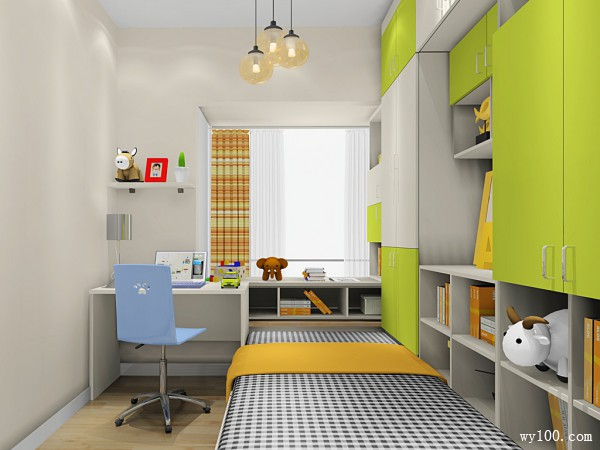 书柜飘窗儿童房 7平简约组合_维意定制家具商城