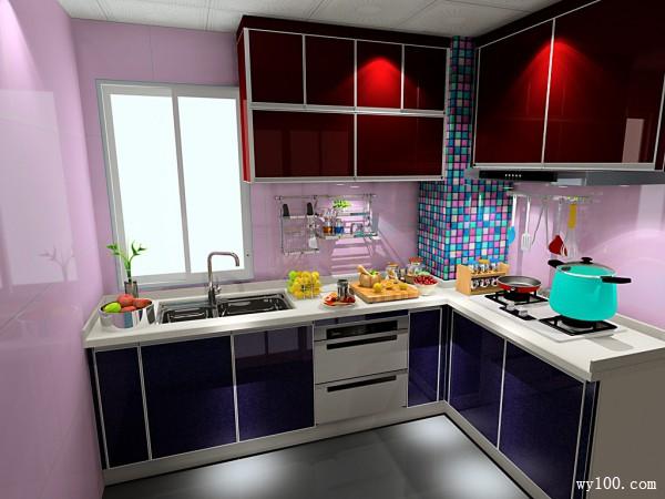 现代风L型厨房效果图 4平紫色缤纷亮面_维意定制家具商城