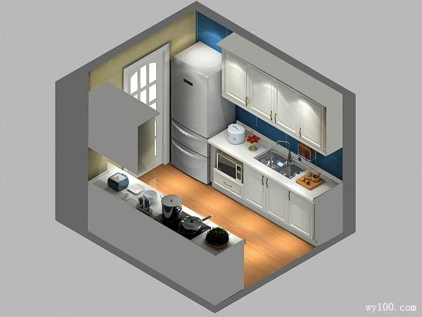 """开放式橱柜效果图 7�O""""解决家里厨房有柱子烦恼_维意定制家具商城"""