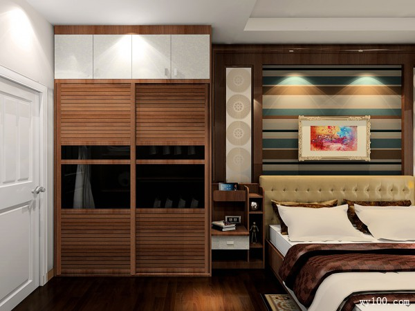 欧式卧室效果图 10�O沉稳时尚强收纳卧房_维意定制家具商城