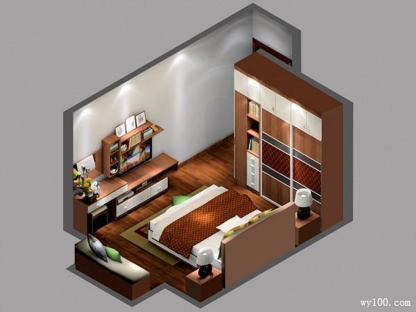 大气卧室效果图 17�O玩混搭风格_维意定制家具商城