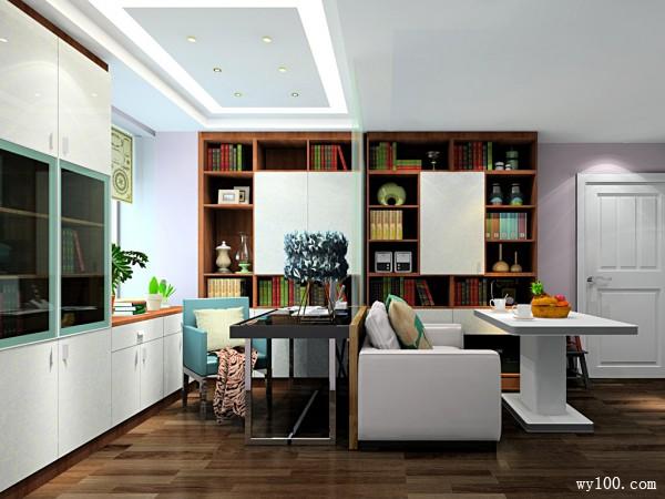 简约收纳书房 一屋可多用_维意定制家具商城