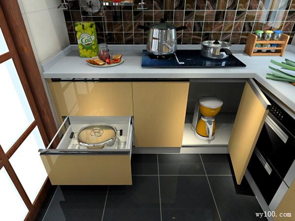 开放式厨房效果图 6�O简洁高档厨房_维意定制家具商城