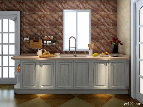 小厨房装修效果图  8�O石板台面不易变型_维意定制家具商城