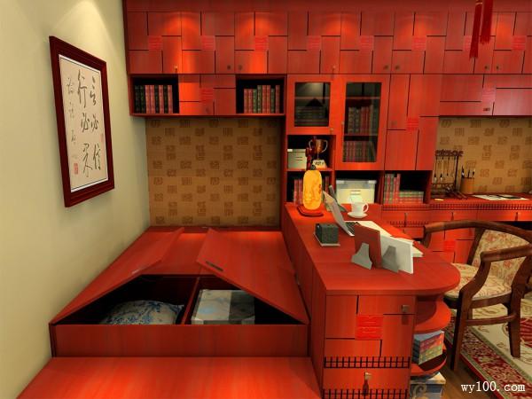 中式古典书房 中国红之风韵_维意定制家具商城
