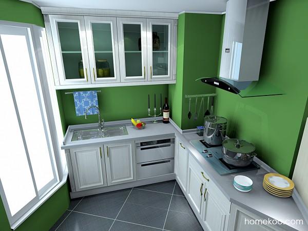 绿色简约风厨房 9�O不规则户型技巧大放送_维意定制家具商城
