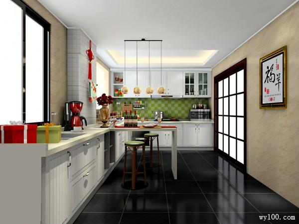 小吧台欧式厨房 12�O尽情享受烹饪的乐趣_维意定制家具商城