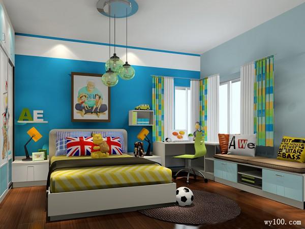 天蓝色儿童房效果图 12�O打造明亮十足学习区_维意定制家具商城