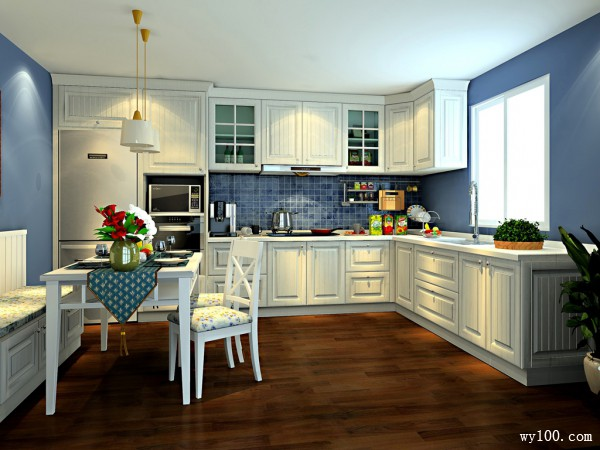 欧式厨房效果图 14�O净白设计_维意定制家具商城