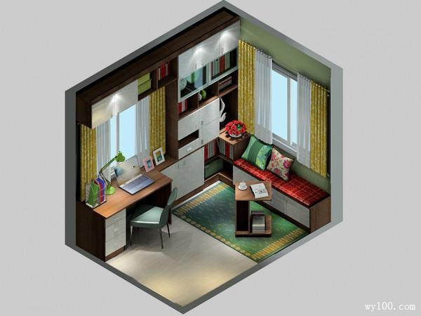 实用性书房 散发葱绿朦胧感_维意定制家具商城