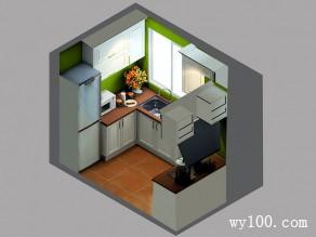 暗绿系厨房效果图 5�O解决柱子的存在问题_维意定制家具商城