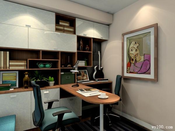 现代收纳书房效果图_维意定制家具商城