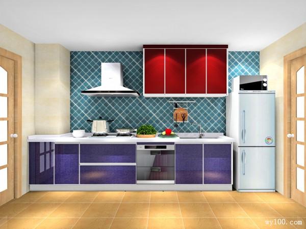 紫色开放式厨房效果图_维意定制家具商城