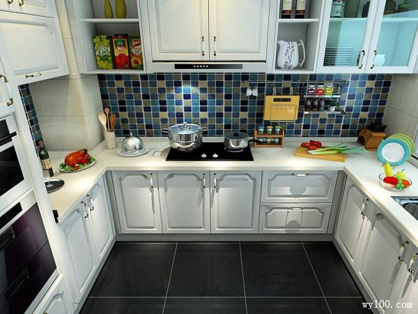 欧式U型厨房设计 7�O炉灶居中_维意定制家具商城
