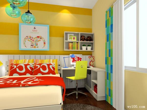 黄色带飘窗儿童房效果图_维意定制家具商城