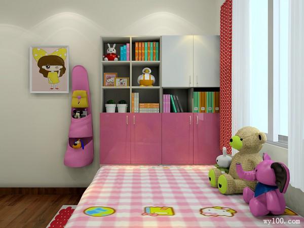 粉红儿童房效果图_维意定制家具商城