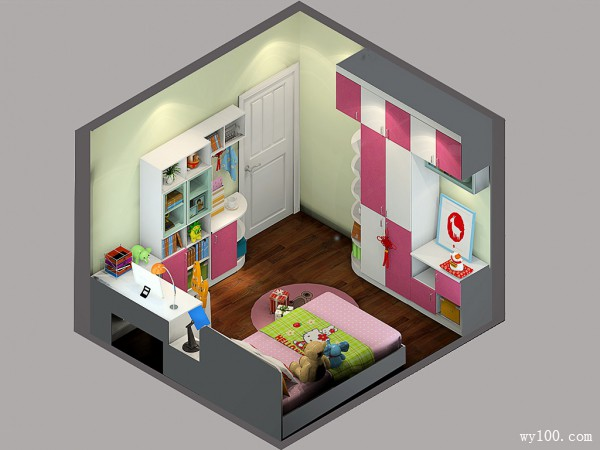 粉色温馨儿童房效果图_维意定制家具商城