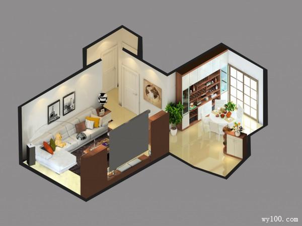 客餐厅一体效果图 25�O满足强大的餐具收纳_维意定制家具商城