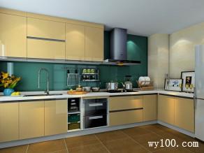 L型经典时尚厨房 9�O搭配一字型吊柜_维意定制家具商城