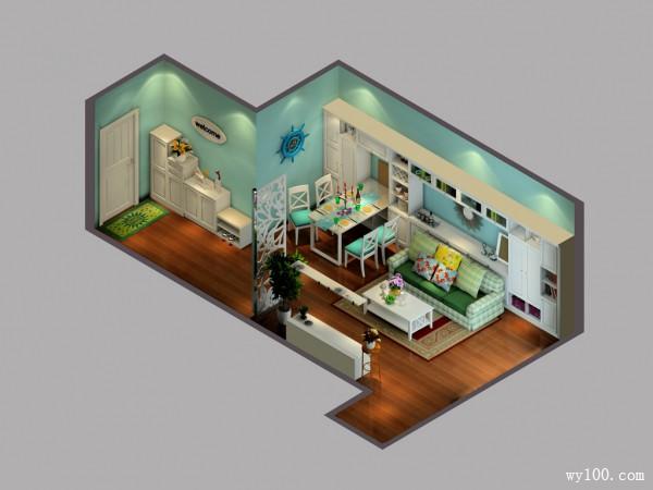 客餐厅一体装修效果图 30�O满足收纳需求_维意定制家具商城