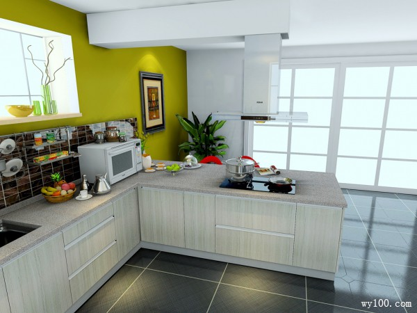 开放式L型厨房 30�O清爽自然_维意定制家具商城