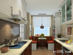 U字型厨房效果图厨房 9�O窗帘使空间更为清爽_维意定制家具商城