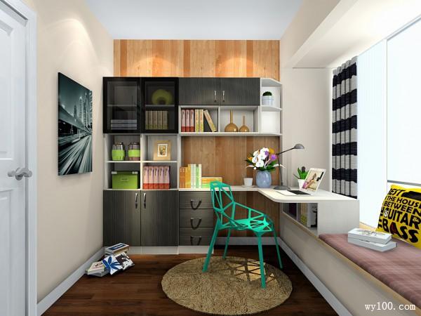 黑白简约小书房效果图_维意定制家具商城