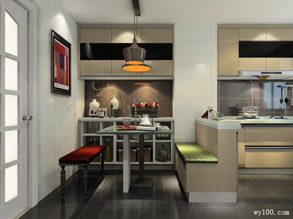 现代客餐厅 简约时尚风格中又略带一丝深沉的气息_维意定制家具商城
