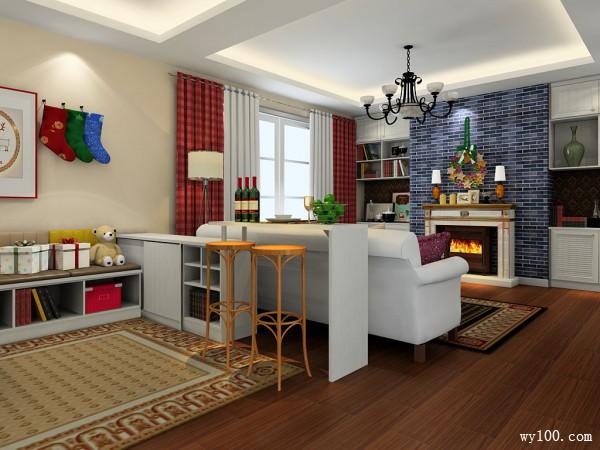 美式田园客餐厅效果图 吧台设计美观实用_维意定制家具商城