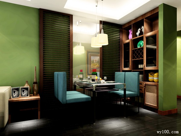 复古餐边柜客餐厅装修效果图