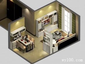 现代美式客餐厅 隔断柜作用让两边空间很好被利用_维意定制家具商城