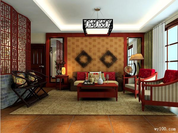 中式客餐厅效果图 精致古典的吊灯灯饰_维意定制家具商城