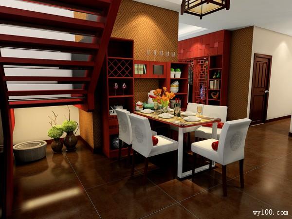 中式客餐厅效果图 面板采用雕花团更显中国风_维意定制家具商城