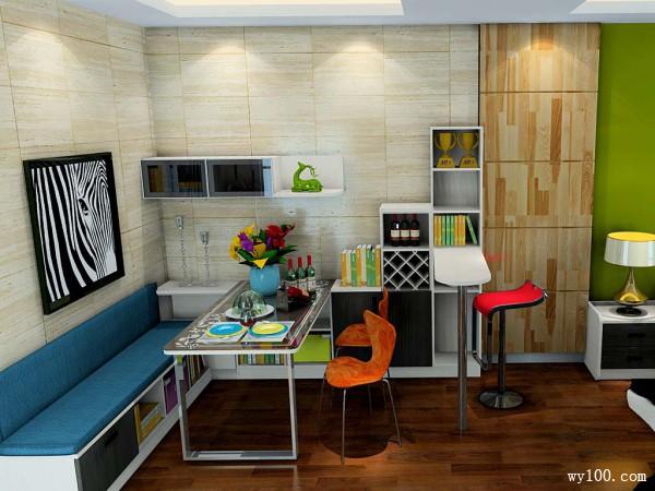 时尚简约欧式带吧台客餐厅_维意定制家具商城