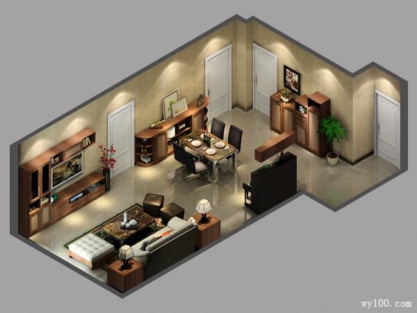 欧式客餐厅效果图 32�O配简单的地柜吊柜_维意定制家具商城