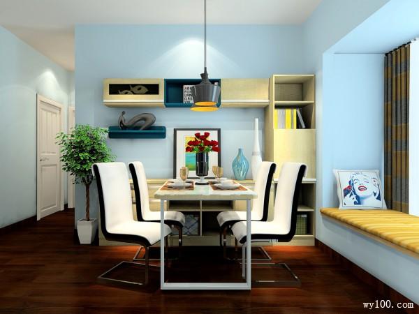 现代简约客餐厅效果图 28�O整体空间简洁、大方_维意定制家具商城