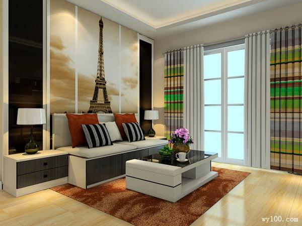 欧式榻榻米客餐厅 33�O巴黎铁塔装饰_维意定制家具商城