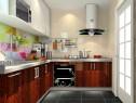 L型厨房效果图 陶砖拼贴色彩风情_维意定制家具商城