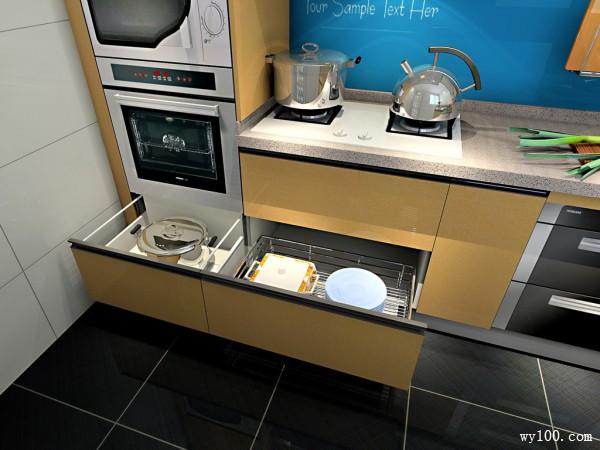 L型厨房效果图 暖色调_维意定制家具商城